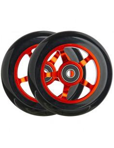 Hjul 100 mm alu fälg m. 88a pu gummi och abec-5 lager tec