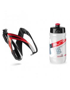 Flaskställ med flaska svart/röd elite