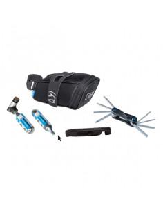 Sadelväskepack med kolsyrepump, extra patron, miniverktyg och däckavtagare pro