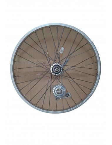 Hjul bak 24 tum (507) 3-v med fotbroms aluminium enkelbottnad 36-h silver